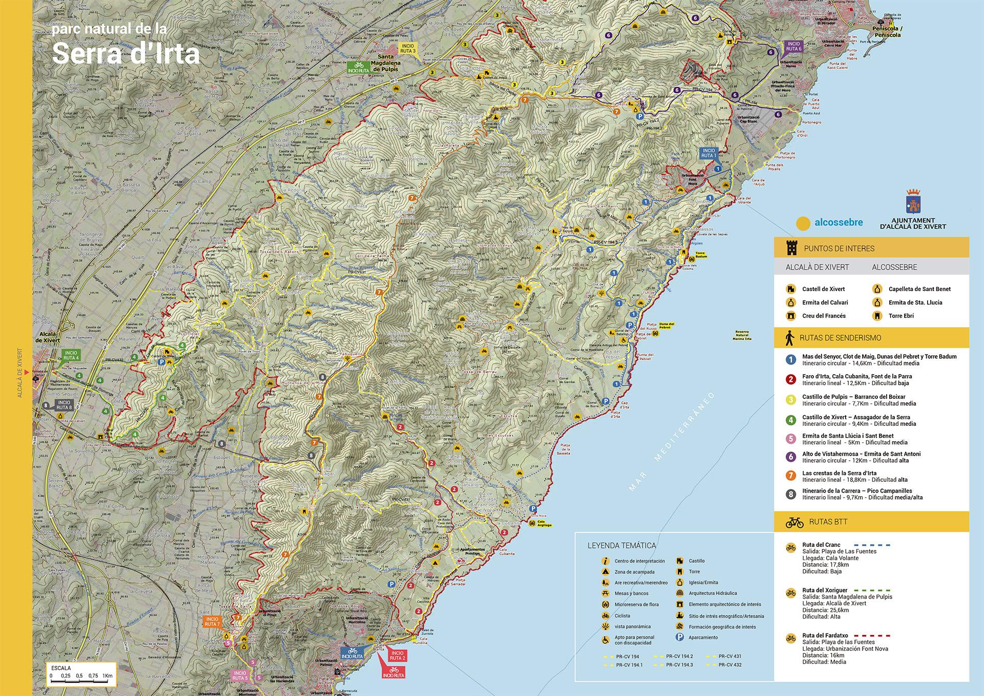 Mapa Rutas Alcossebre para Cicloturismo