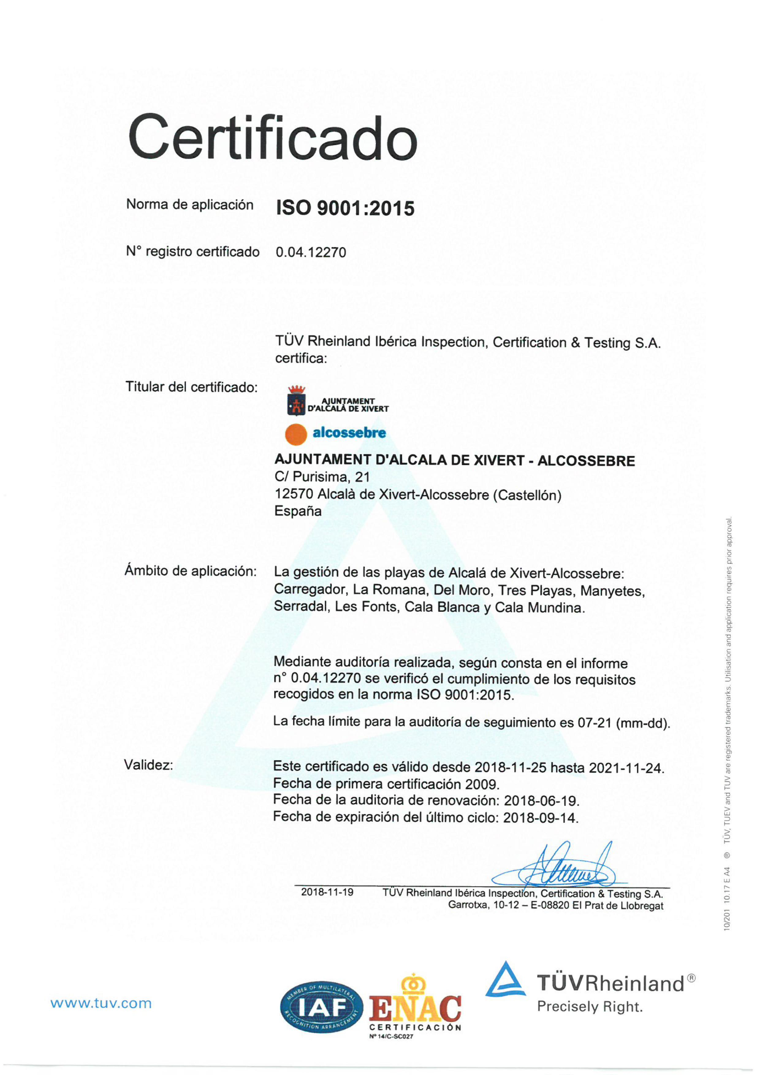 ISO 9001 2018 - 2021